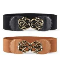 JASGOOD Women Stretchy Belt for Dresses Vintage Elastic Wide Waist Belt