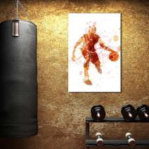 wall26 - Canvas Wall Art Sports Theme - Watercolor Style Man Dribbling a Basketball - Giclee Print Gallery Wrap Modern Home Decor Ready to Hang - 24x36 inches