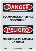 """NMC ESD665RB Bilingual OSHA Sign, Legend """"DANGER - FLAMMABLE MATERIAL NO SMOKING"""", 10"""" Length x 14"""" Height, Rigid Plastic, Black/Red on White"""