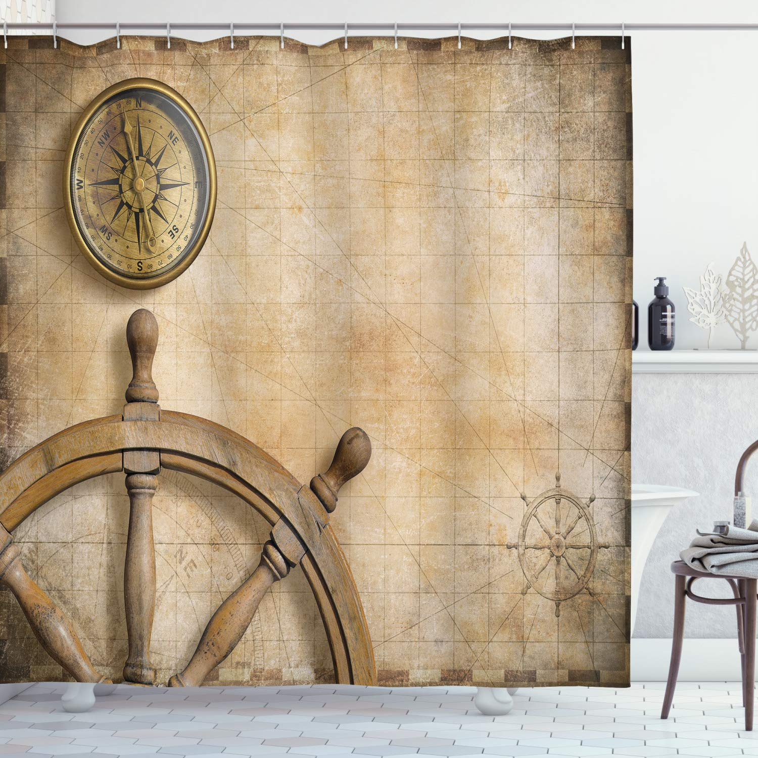 """Ambesonne Nautical Shower Curtain, Steering Wheel Compass Vintage Map Setting Captain's Chamber Finding Treasure Print, Cloth Fabric Bathroom Decor Set with Hooks, 84"""" Long Extra, Beige"""