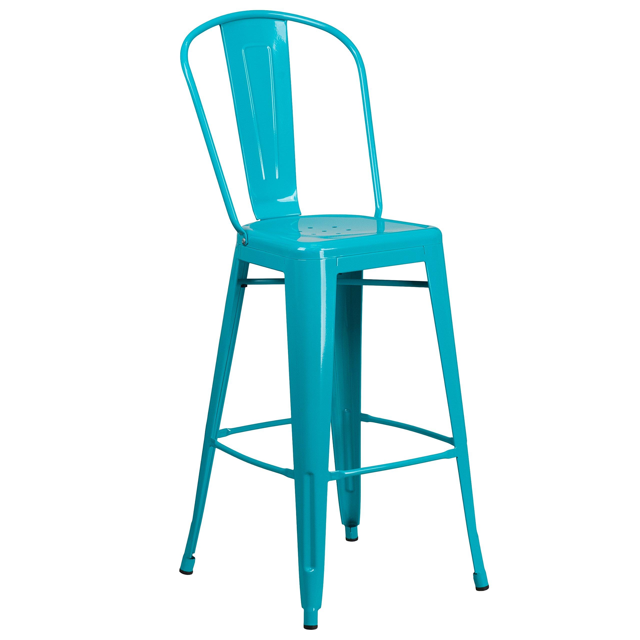 Flash Furniture 30'' High Crystal Teal-Blue Metal Indoor-Outdoor Barstool with Back