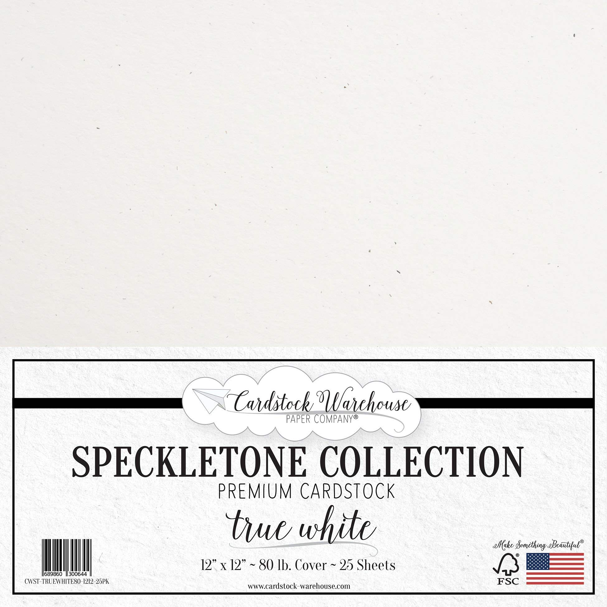 True White Speckletone Recycled Cardstock Paper - 12 x 12 inch - Premium 80 LB. Cover - 25 Sheets
