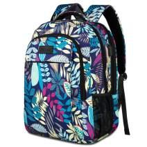 JEMIA Multipurpose Collection 15.6 Laptop Holder, USB Port, Anti-Theft Pocket Backpack (Blue Leaves, Polyester)