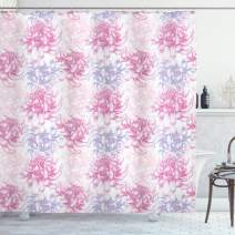 "Ambesonne Flowers Shower Curtain, Romantic Floral Design Chrysanthemum Blossoms Leaves Abstract Print Artwork, Cloth Fabric Bathroom Decor Set with Hooks, 70"" Long, White Pink"