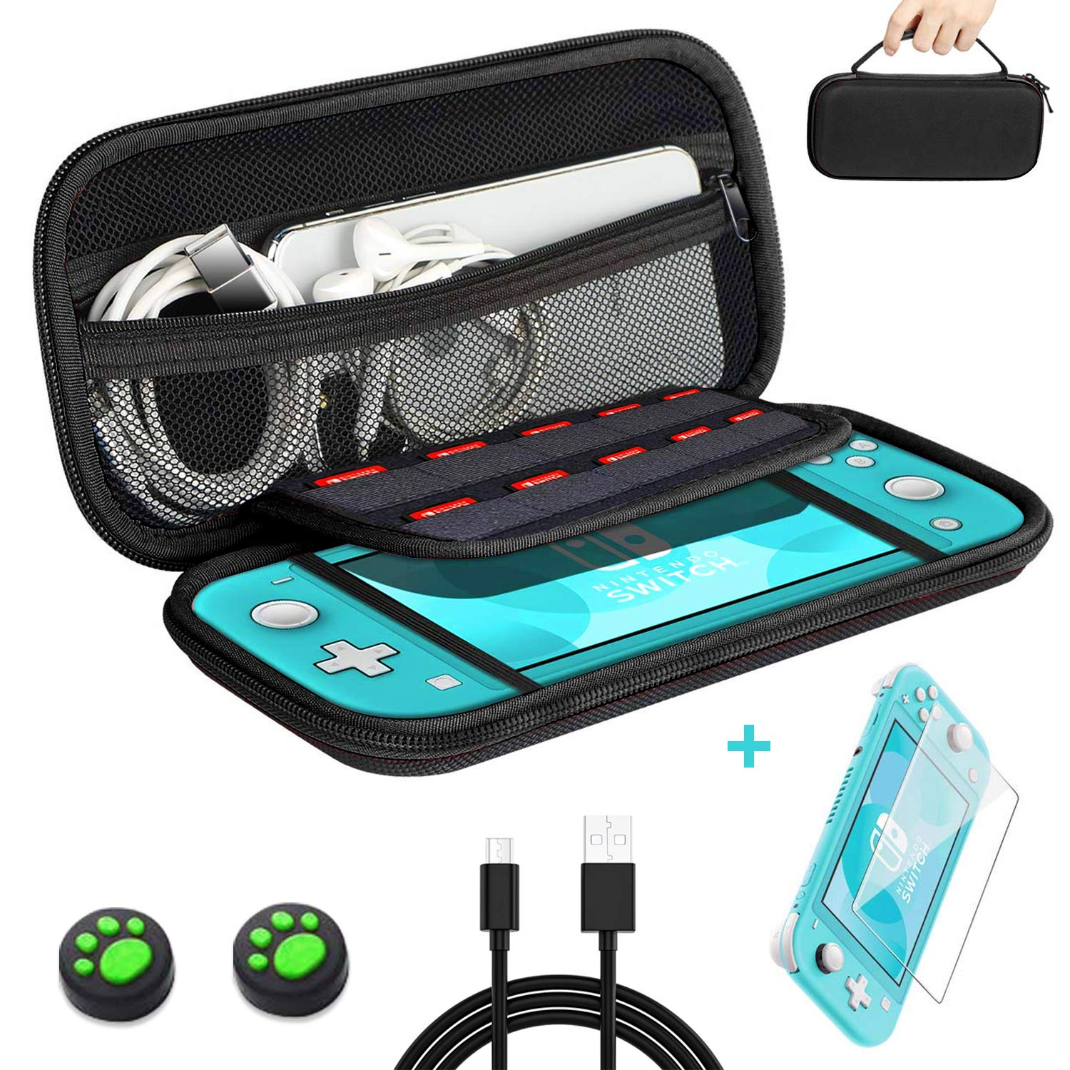 habbipet Nintendo Switch carying case with Glass Screen Protector,Hard Shell Pouch Switch Carrying case - USB C Cable & 2 Thumb Stick Caps -Black Color