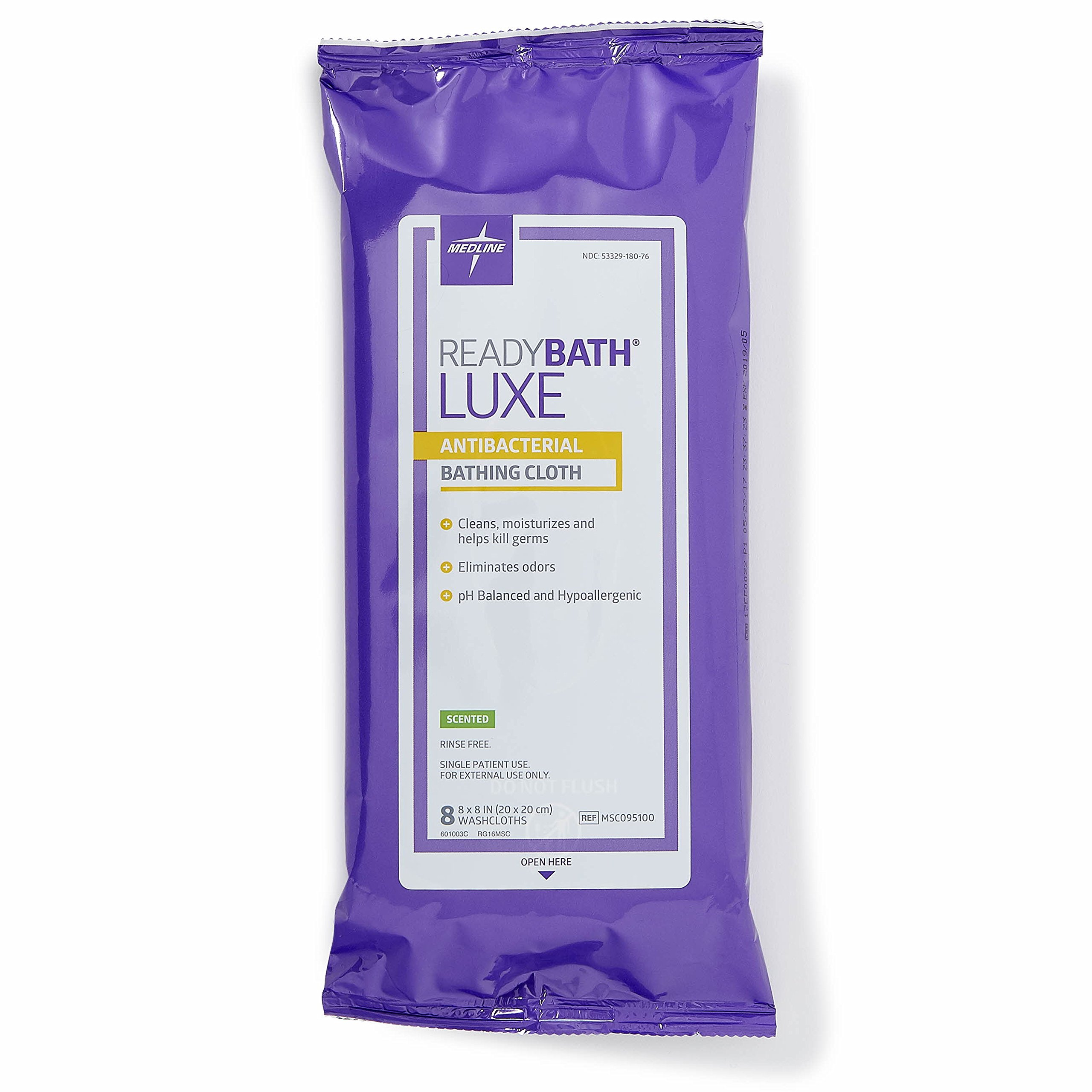 Medline ReadyBath LUXE Antibacterial Body Cleansing Cloth Wipes, Scented, Extra Thick Wipes (8 Count Pack, 24 Packs)
