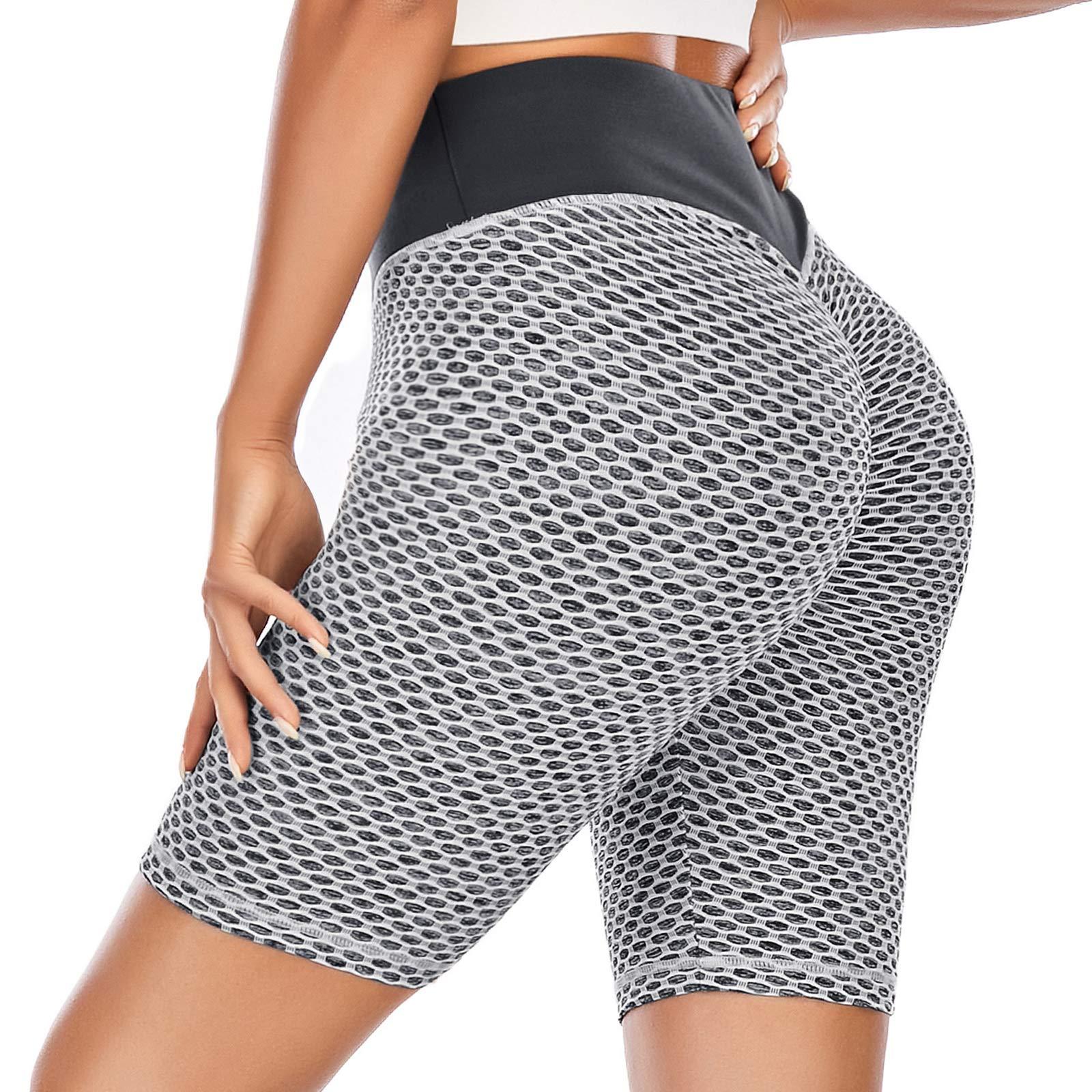 YEYELE Yoga Shorts for Women High Waist Butt Scrunch Booty Spandex Gym Workout Running Biker Shorts
