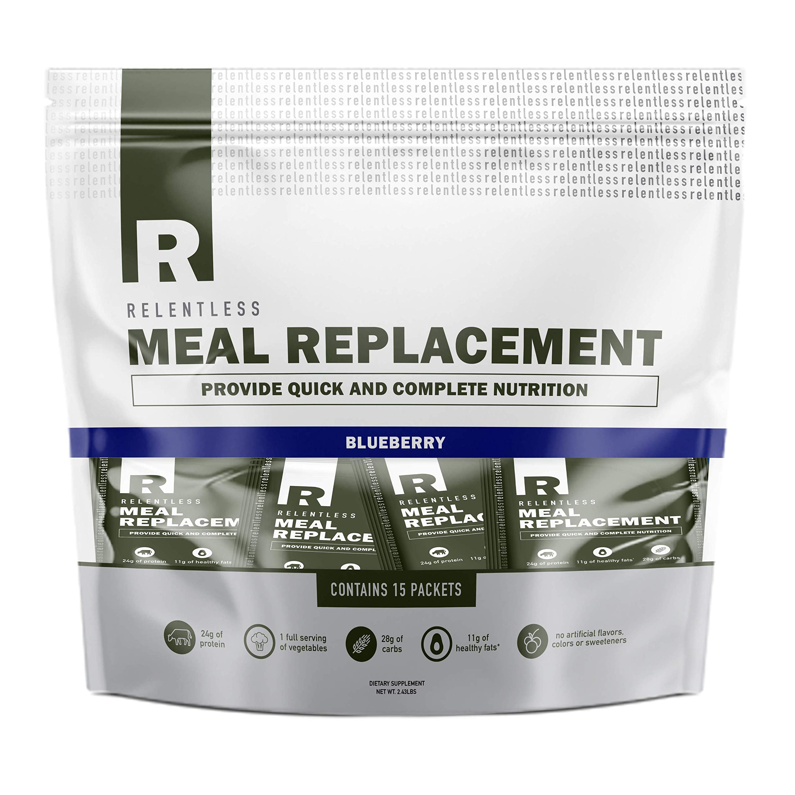Individual Meal Replacement Powder Packets by Live Relentless Nutrition - Whole Food Protein Shake Powder Packets (Blueberry, 15 On-The-Go Packets)