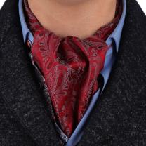 Epoint Men's Fashion Classic Paisley Cravat Silk Ascot Tie Hanky Set, With Gift Box Set