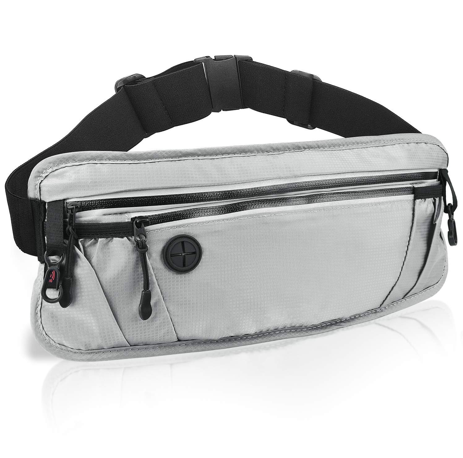 Slim Runing Fanny Pack Waist Pouch Bag for Men Women Water Resistant Hip Bum Bag with RFID Block Reflective Strip Great for Hiking Jogging Sports Runners, Gray