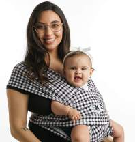 Baby K'tan Print Baby Wrap Carrier, Infant and Child Sling - Simple Wrap Holder for Babywearing - No Rings or Buckles - Carry Newborn up to 35 lbs, Gingham, XXS (W Dress up to 0)