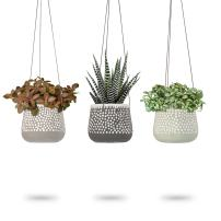 3 Pack Hanging Planter for Indoor Plants, White Concrete Pots, Round Air Succulent Holder Container, Cactus Pot with Rope Hanger, 23 Bees (3, Shades of Nature)