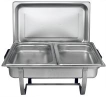 TigerChef 8 Quart Full Size Stainless Steel Chafer with Folding Frame and Cool-Touch Handle and 2 Half Size Chafing Dishes Food Pans 1 Pack