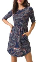 Zevrez Women's 3/4 Sleeve Elastic Waist and Long Sleeve A-Line with Pocket Round Neck Floral Loose Casual Dress