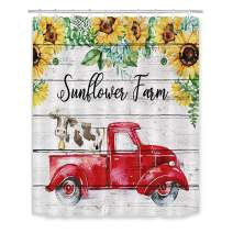 LB Sunflower Farm Red Truck Shower Curtain Rustic Barn Wood Cow Farmhouse Bathroom Curtain with Hooks 60x72 inch Waterproof Polyester Fabric Bathroom Decorations