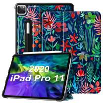 """Fintie Case for iPad Pro 11"""" 2020/2018 with Pencil Holder [Supports 2nd Gen Pencil Charging Mode] - Lightweight Slim Shell Standing Hard Back Cover, Auto Wake/Sleep, Jungle Night"""