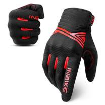 INBIKE Breathable Mesh Motorcycle Gloves Touchscreen with TPR Palm Pad Hard Knuckle Black Red Small