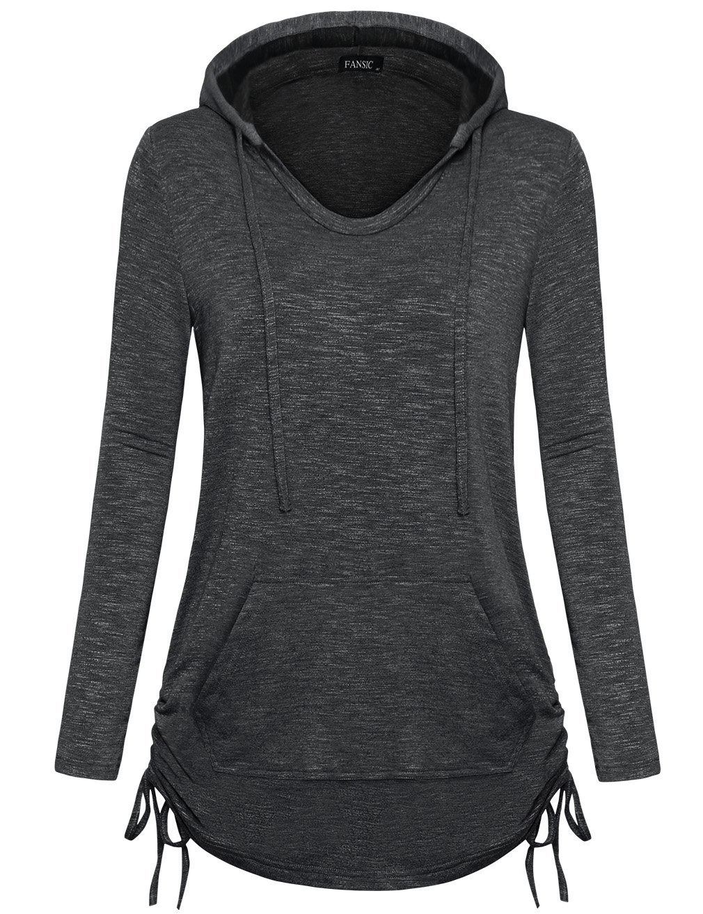 FANSIC Women's Burnout Color Lightweight Pullover Sweatshirt Hoodie with Pocket