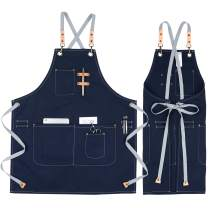 COOLYOUTH Cotton Apron for Men Women, Chef BBQ Grill Work Shop Aprons with Adjustable Strap (Blue)
