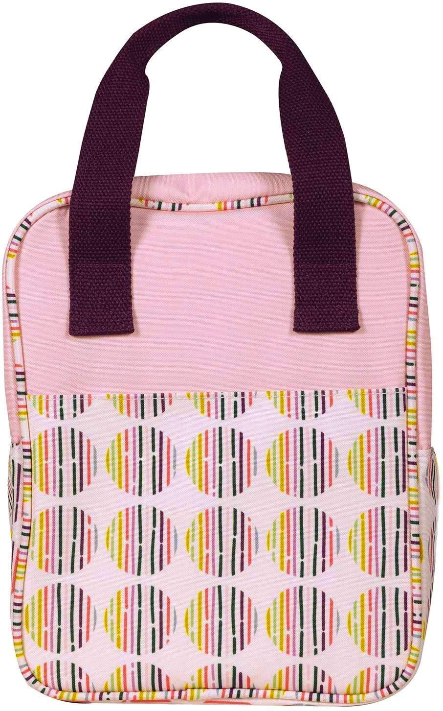 Women's Teen Girls Cute Insulated Reusable Canvas Lunch Box Soft Cooler Bag with Double Zipper Closure, Exterior Pocket, and Sturdy Handles, Dot Stripe