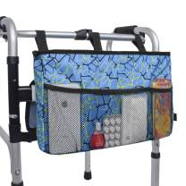 "Walker Bag Organizer, MDSTOP Hanging Storage Bag, Waterproof Accessory Tote Caddy, Universal Fits for Walkers, Scooters or Rollator Walkers (Blue, 16.5"" x 9"")"