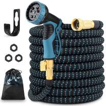 """Unzano Garden Hose Expandable 50ft, Water Hose Flexible with 9 Function Spray Nozzle - Leakproof Expanding Lightweight No Kink Garden Hoses with 3/4"""" Solid Brass Fittings for Watering/Washing"""