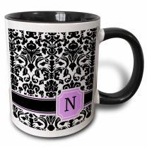 3dRose Personal initial N monogrammed pink black and white damask pattern girly stylish personalized letter - Two Tone Black Mug, 11oz (mug_154389_4), 11 oz, Black/White