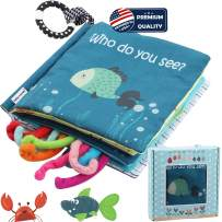 Sea Animal Fabric Cloth Book,Soft Tails books(Fishy Tails),Soft Activity Crinkle Book Toys for Early Education for Babies,Toddlers,Infants,Kids with Teether Ring & Gift Box, Teething Book Baby Shark