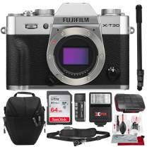 Fujifilm X-T30 4K Wi-Fi Mirrorless Digital Camera (Body Only) - Silver with 64GB Deluxe Bundle and Travel Photo Cleaning Kit