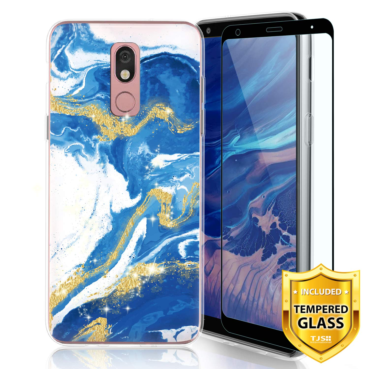 TJS Phone Case for LG Aristo 4 Plus X320/LG X2 2019/LG K30 2019, with [Full Coverage Tempered Glass Screen Protector] Ultra Thin Slim TPU Matte Color Marble Transparent Clear Soft Skin (Blue)