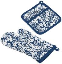 "DII Cotton Damask Oven Mitt 12 x 6.5"" and Pot Holder 8.5 x 8"" Kitchen Gift Set, Machine Washable and Heat Resistant for Cooking and Baking-Nautical Blue"
