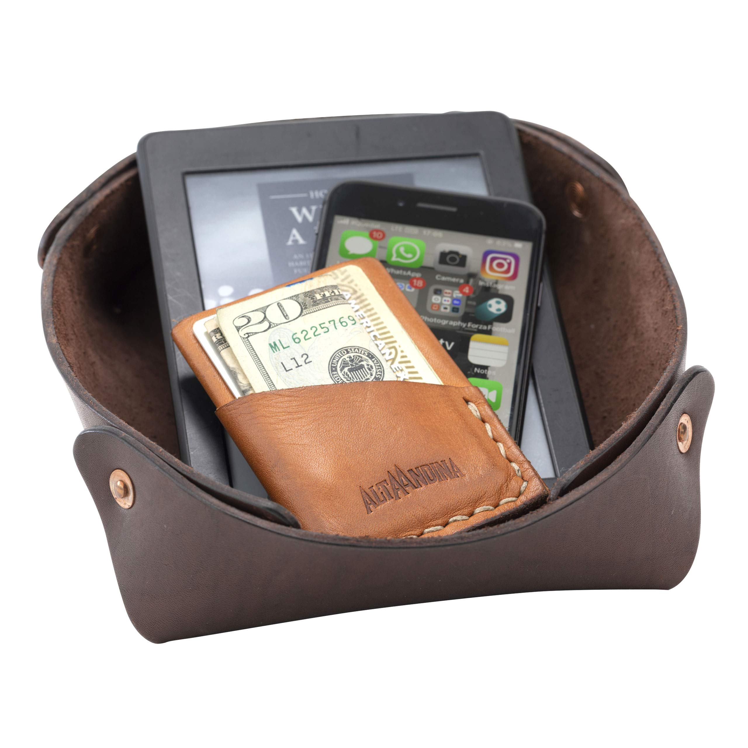 Alta Andina Large Leather Valet Tray   Catchall & Organizer (Brown – Café)