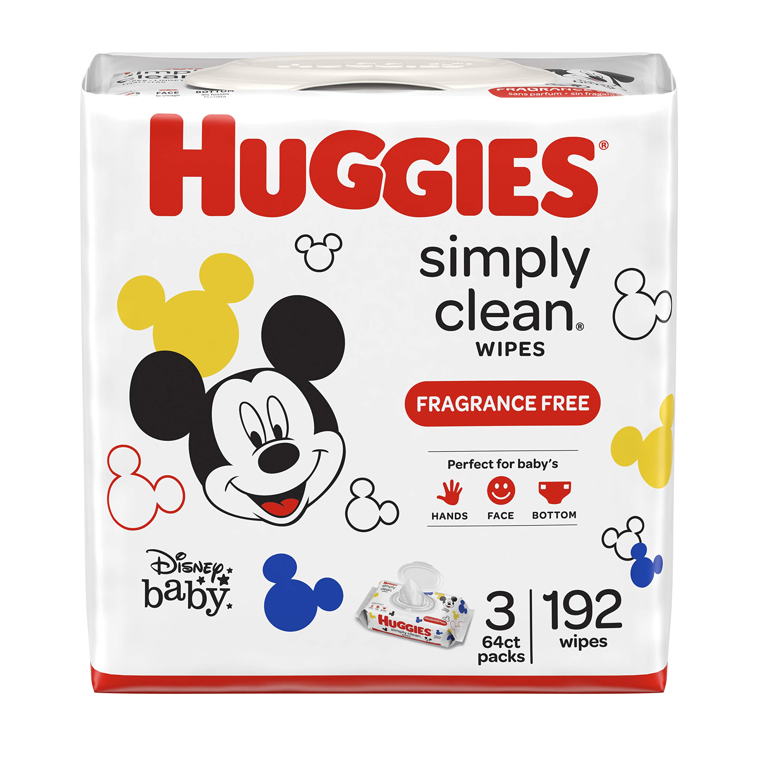 Huggies Simply Clean Baby Wipes, Unscented, 3 Ct
