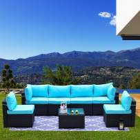 Kullavik Patio Furniture Set 7 Pieces Outdoor Sectional Rattan Sofa Set Manual Wicker Patio Conversation Set with 6 Seat Cushions and 1 Tempered Glass Table, Turquoise Blue