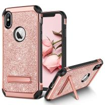 iPhone X Case, iPhone Xs 2018 Glitter Case, BENTOBEN Bling Slim Hybrid 2 in 1 TPU Bumper Hard PC Cover Coat Sparkly Shiny Cute Faux Leather with Metal Kickstand for iPhone X/iPhone Xs 2018,Rose Gold