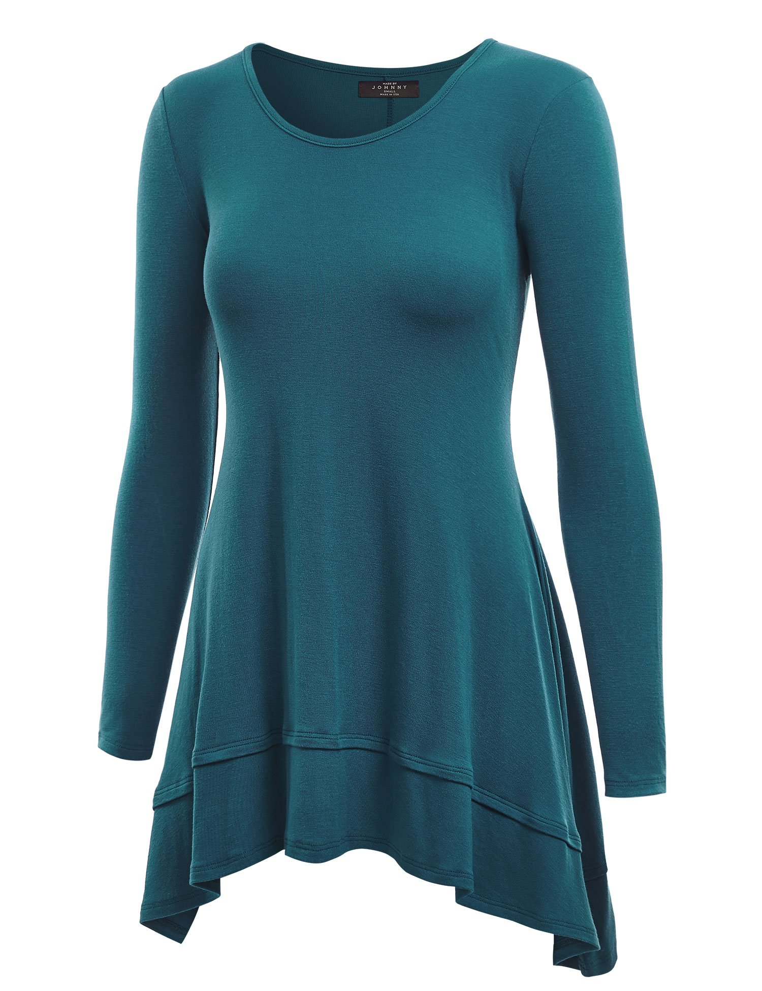 Made By Johnny Women's V Neck Short Sleeve Ruffle Hem top/Long Sleeve Double Layer Tunic Top