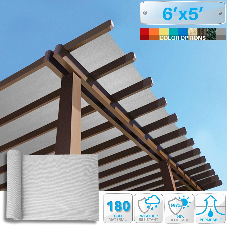 Patio Paradise 6' x 5' Sunblock Shade Cloth Roll,Light Grey Sun Shade Fabric 95% UV Resistant Mesh Netting Cover for Outdoor,Backyard,Garden,Plant,Greenhouse,Barn