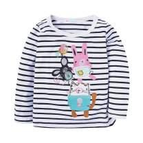 Mud Kingdom Girls Long Sleeve T-Shirts Cute Mouse Family Stripe