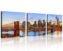 TutuBeer 3 Panels NYC Art NYC Prints New York Pictures Brilliant Brooklyn Bridge at Sunset Manhattan Skyline Canvas Art Decor New York Wall Decor Stretched and Framed for Wall Decor,3 Panel/Set