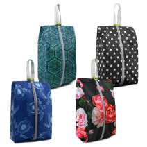Shoe Packing Bags for Gym Sports with Zipper 4 Pack Sturdy Machine Washable Portable Shoe Pouch Bags Turtle Peony Dot Prints
