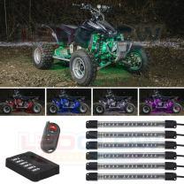 "LEDGlow 6pc Million Color Flexible ATV UTV Quad 4x4 LED Lighting Kit - 15 Solid Colors - 9 Patterns - 6"" Multi-Color Tubes - Includes Control Box & Wireless Remote"