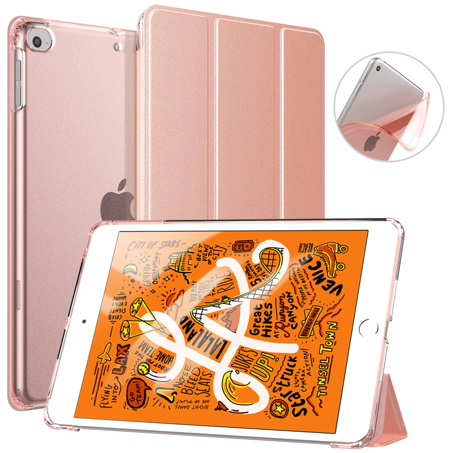TiMOVO Cover Compatible for New iPad Mini 5th Generation 2019 Case, Slim Soft TPU Translucent Frosted Back Protector Cover Shell with Auto Wake/Sleep, Smart Cover Fit iPad Mini 5 2019, Rose Gold