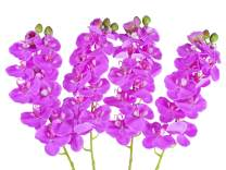 """Ivalue 28"""" Real Touch Artificial Orchid Stems Pack of 4 Purple Orchid Flower Branches 11 Heads Fake Orchid Branches for Home Decoration (4, Purple)"""