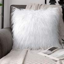 Phantoscope Faux Fur Pillow Cover Decorative Fluffy Throw Pillow Mongolian Soft Fuzzy Pillow Case Cushion Cover for Bedroom and Couch,True White 26 x 26 Inches