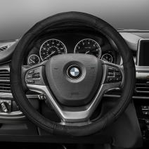 FH Group FH2002BLACK Steering Wheel Cover (Deluxe Full Grain Authentic Leather Black)