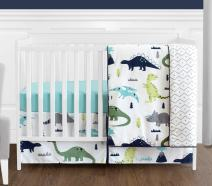 Navy Blue and Green Modern Dinosaur Baby Boys or Girls 4 Piece Crib Bedding Set for Mod Dino Collection
