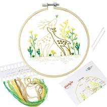 Full Range of Handmade Embroidery Starter Kit with Various Patterns Including Embroidery Hoop, Embroidery Cloth, Color Threads, Neddle and Instruction for Beginners (511185)