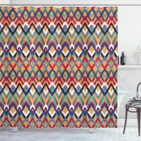 "Ambesonne Ikat Shower Curtain, Back Strapped Native Ceremonial Type Ikat Patterns Group of Irregular Lines Art, Cloth Fabric Bathroom Decor Set with Hooks, 70"" Long, Orange Blue"