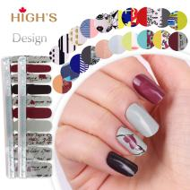 HIGH'S EXTRE Adhesion 20pcs Nail Art Transfer Decals Sticker Design Series The Cocktail Collection Manicure DIY Nail Polish Strips Wraps for Wedding,Party,Shopping,Travelling (Love Notes)