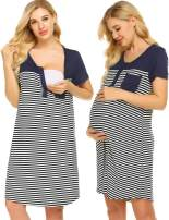 Ekouaer Breastfeeding Sleeping Shirt Woman Button Down Striped Nighty Mid Length Maternity Nightgown,Navy Blue,Medium